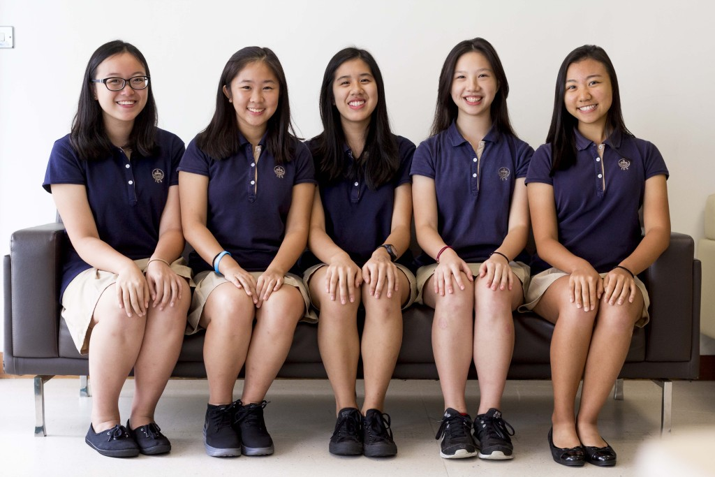 From left to right: Rachel Tam, Jasmine Yu, Michelle Wong, Adrienne Lee, Shanice Lam